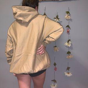 Champion Shirts - NWOT taupe reverse weave champion uo hoodie large